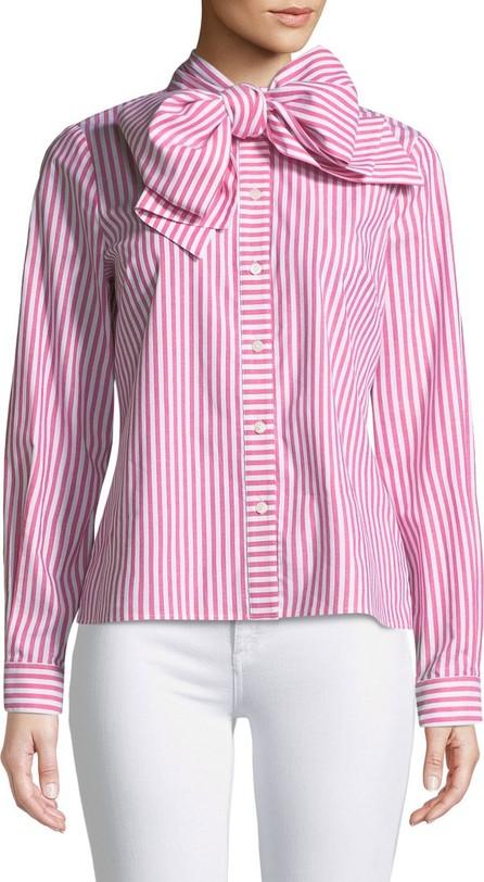 Badgley Mischka Candy Stripe Long-Sleeve Bow-Collar Blouse