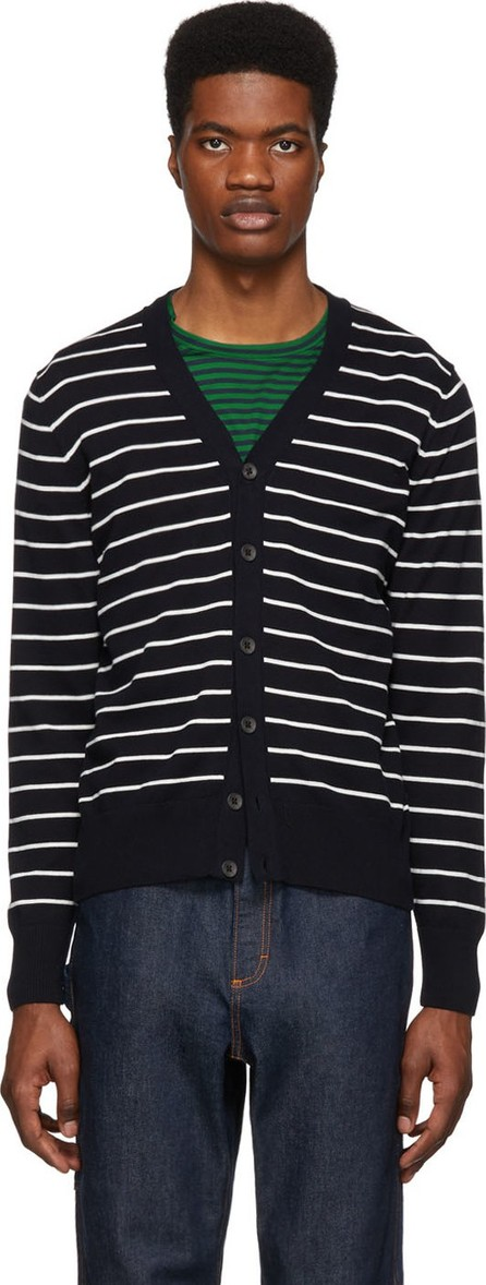 BOSS Hugo Boss Navy & White Striped Knit Cardigan