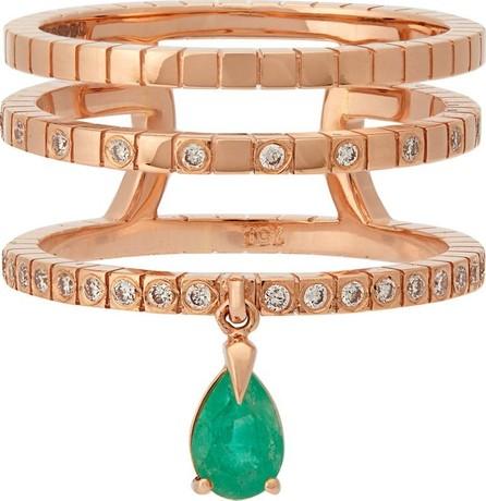 Diane Kordas Spectrum 18kt rose-gold, diamond & emerald ring