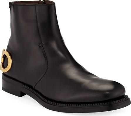 Salvatore Ferragamo Men's Bankley Gancini-Heel Leather Boots