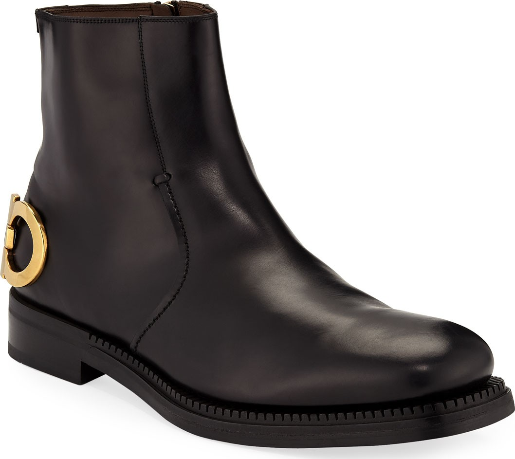 Bankley Gancini-Heel Leather Boots - Luxed