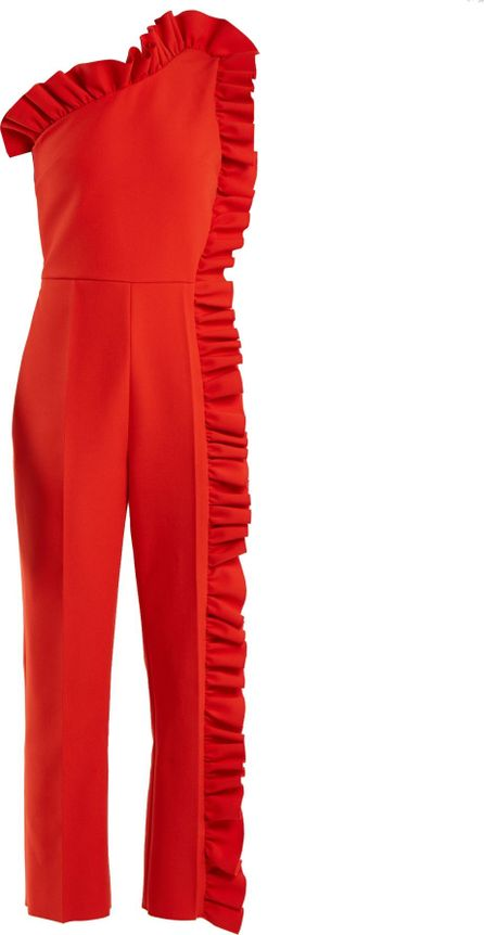 MSGM One-shoulder ruffle-trimmed jumpsuit