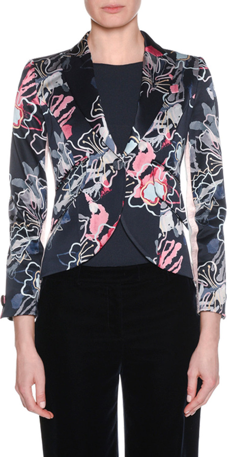 Giorgio Armani One-Button Abstract Floral-Print Double-Face Crepe Crop Jacket