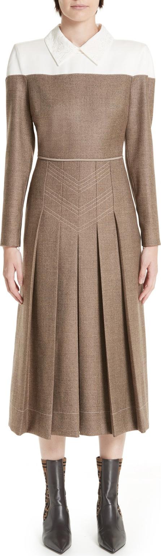 Fendi Silk Yoke Pleated Tweed Dress