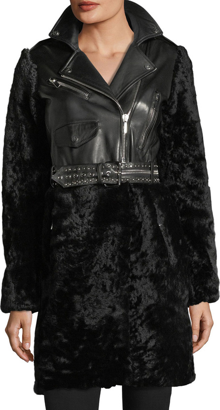 Nour Hammour Shearling & Leather Moto Coat