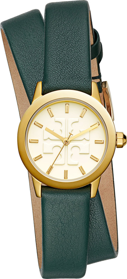 Tory Burch The Gigi Golden Watch with Green Leather Wrap Strap