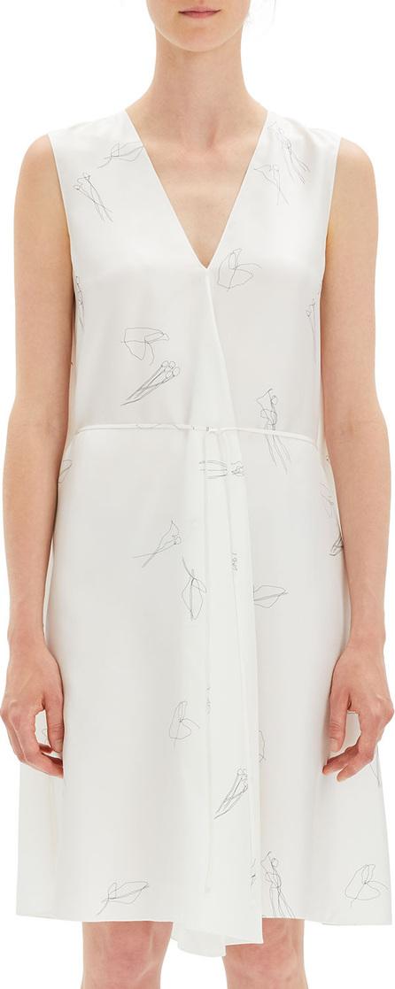 Theory Abstract Printed V-Neck Twill Short Dress