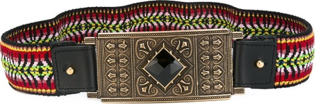 Etro embroidered plate buckle belt