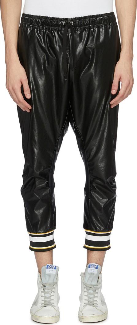 Faith Connexion Stripe cuff faux leather cropped jogging pants