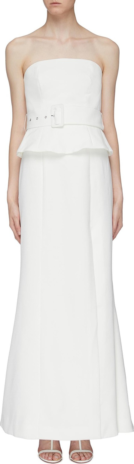 C/MEO Collective 'Mode' belted peplum strapless gown