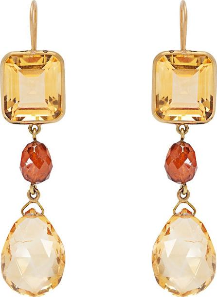 Brigid Blanco 18kt gold, citrine & hessonite drop earrings