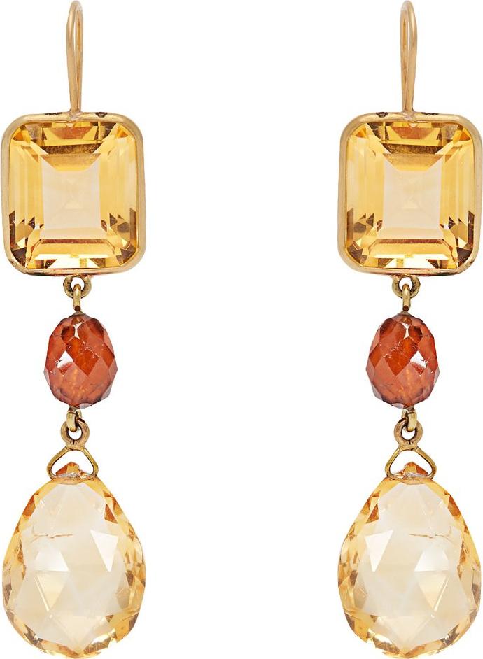 Brigid Blanco - 18kt gold, citrine & hessonite drop earrings