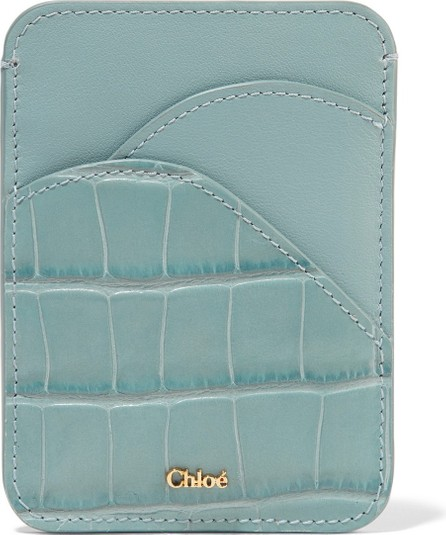 Chloe Walden smooth and croc-effect leather cardholder