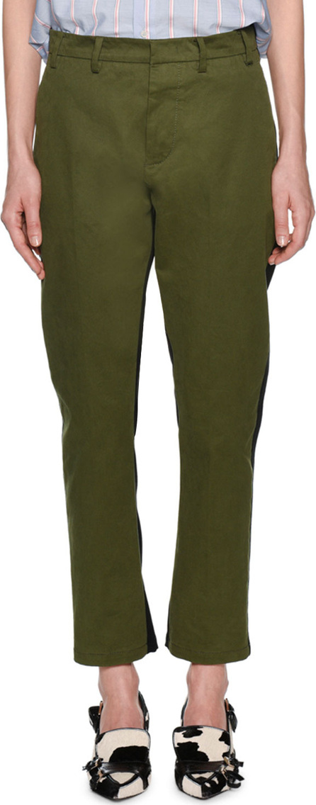 Nº21 Salvia Straight-Leg Ankle Pants with Stripes