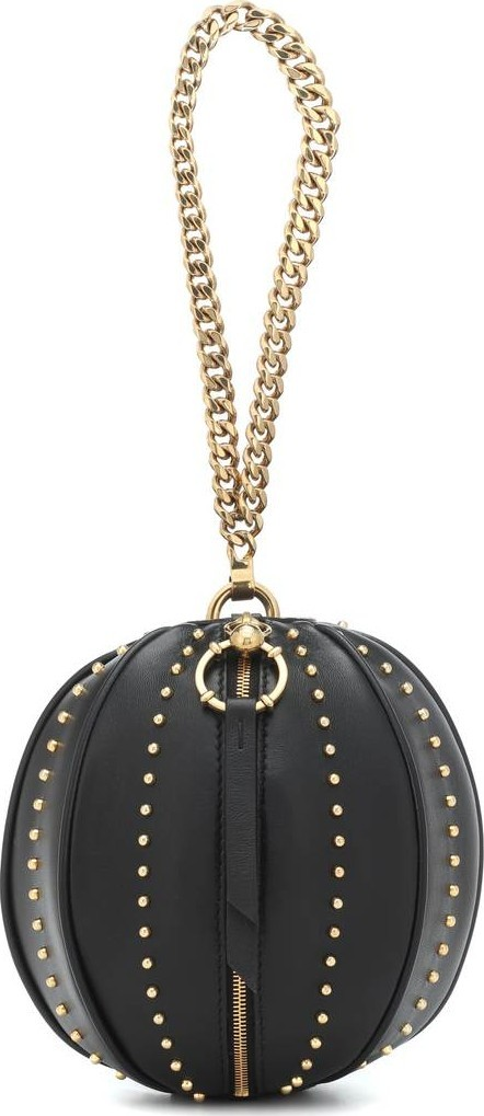 Balmain Studded leather clutch