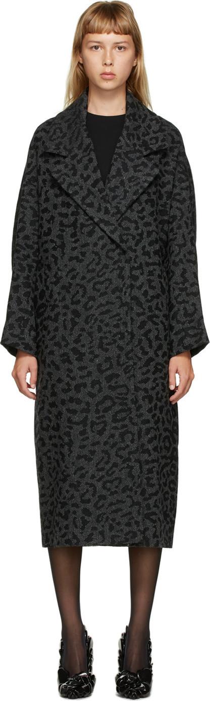 Valentino Grey Wool Tweed Animalier Coat