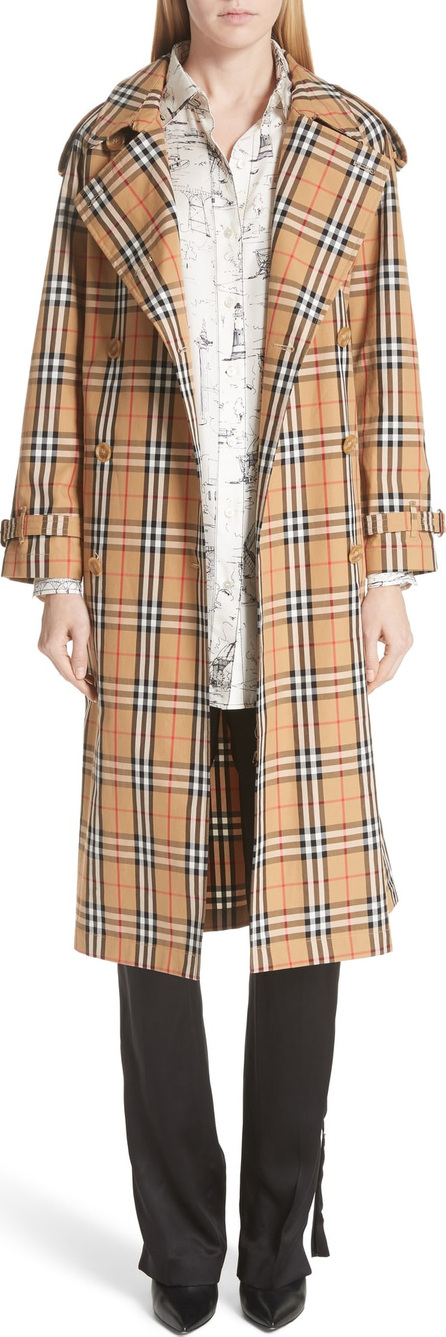 Burberry London England Eastheath Vintage Check Trench Coat