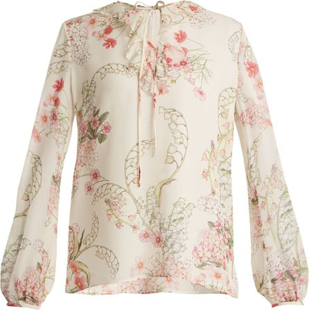 Giambattista Valli Lily Of The Valley-print silk-georgette blouse