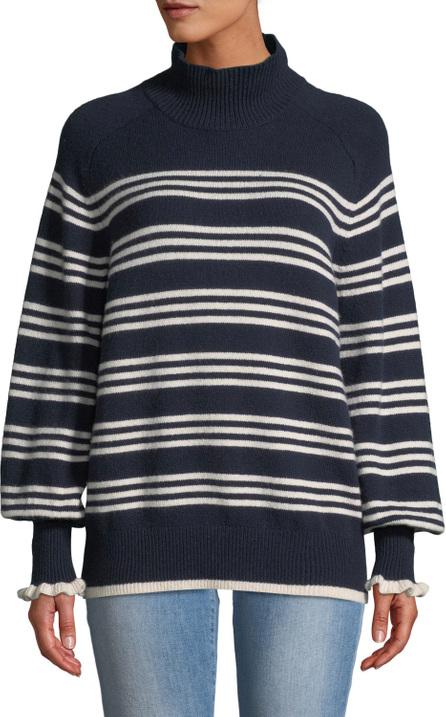 Rebecca Taylor Striped Bishop-Sleeve Turtleneck Sweater