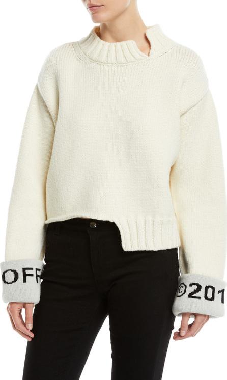 Off White Asymmetric Cuffed Wool Sweater