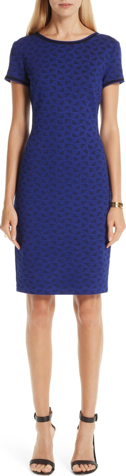 St. John Micro Geo Blister Knit Sheath Dress