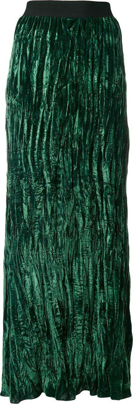 Nude crushed velvet skirt