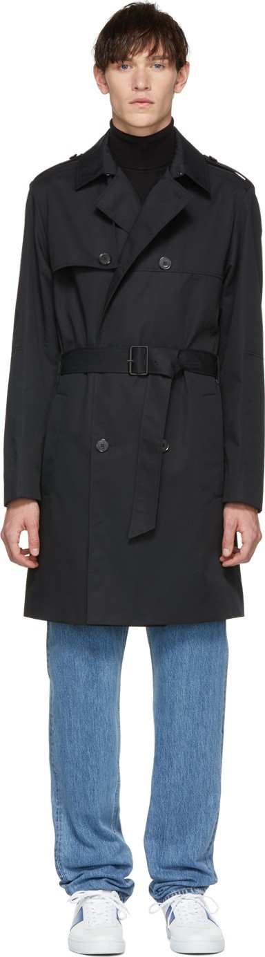 HUGO Black Double-Breasted Trench Coat