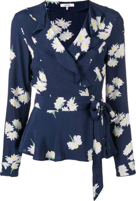 Ganni Floral ruffle front blouse
