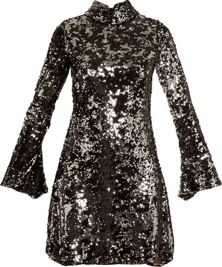 Halpern Sequin-embellished high-neck flared-sleeve dress