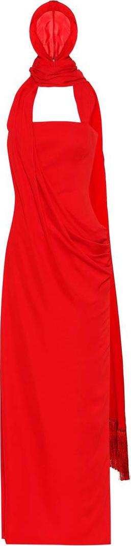 Versace Hooded crêpe gown