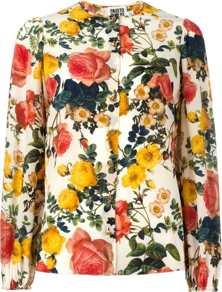 Fausto Puglisi flower print collarless shirt