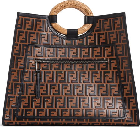 Fendi Runaway Logo Leather Shopper