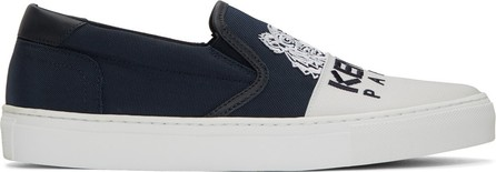 KENZO Navy & White Limited Edition Tiger K-Skate Slip-On Sneakers