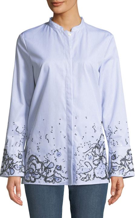 Escada Sport Striped Button-Down Cotton Shirt w/ Sequin Embellishment