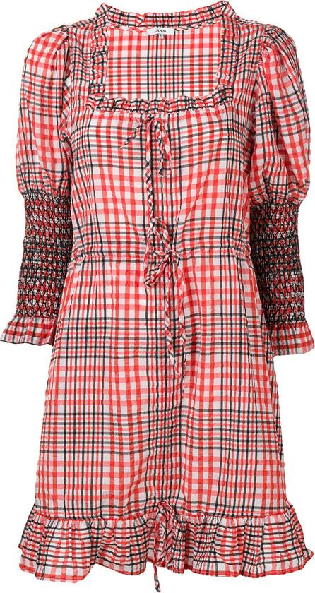 Ganni Plaid peasant dress
