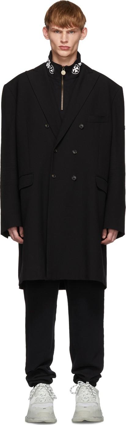 Balenciaga Black Washed Double-Breasted Coat