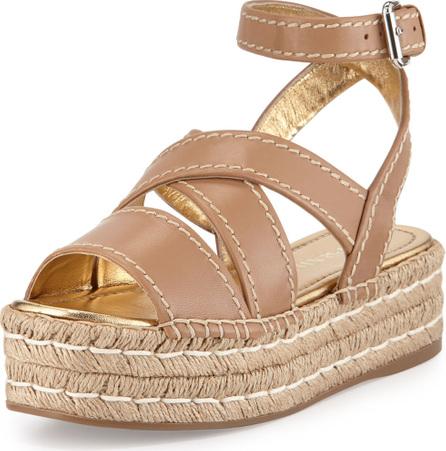 Prada Crisscross Leather Espadrille Sandal, Natural