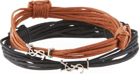 Saint Laurent Waxed Cord YSL Monogram Bracelets, Set of 2