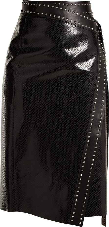Alexander McQueen Python-effect leather wrap skirt
