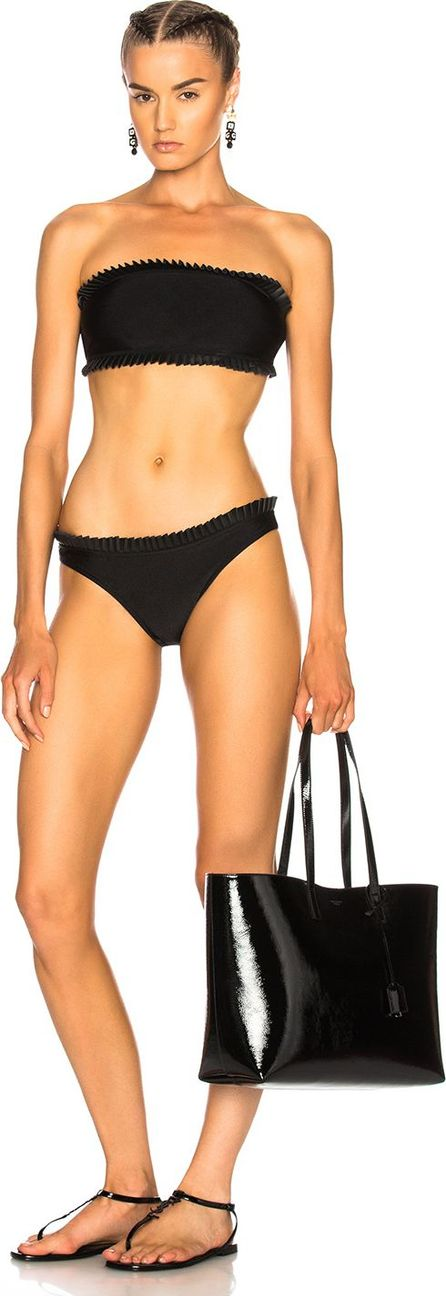 Adriana Degreas Frilled Faux Leather Bikini