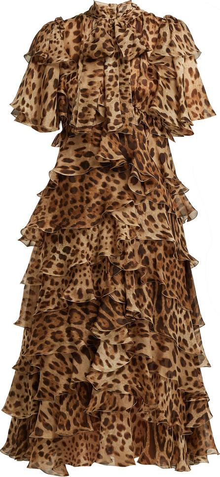 Dolce & Gabbana Leopard-print ruffled silk-chiffon dress