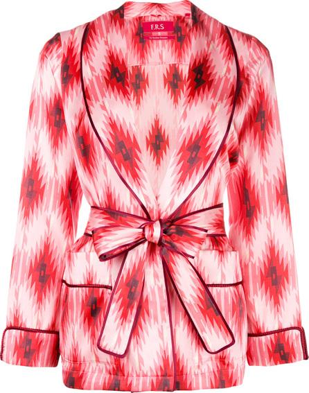 F.R.S For Restless Sleepers Geometric print tie waist blazer