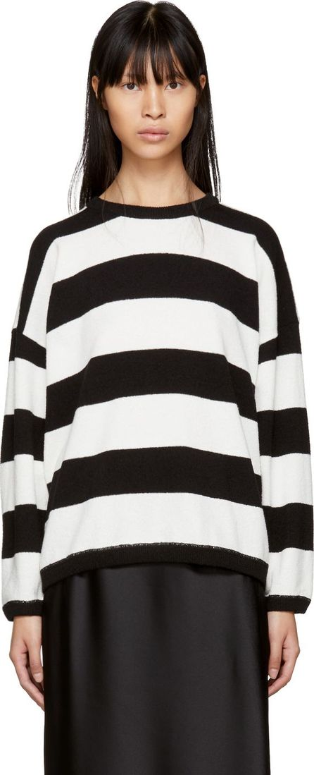 6397 Black & White Striped Terry Crewneck Sweater