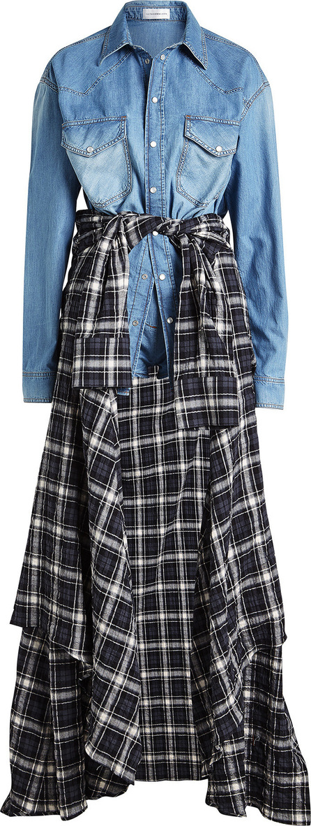 Faith Connexion Denim Playsuit with Plaid Shirt