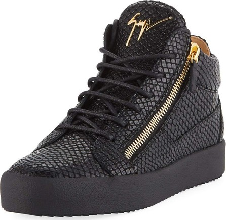 Giuseppe Zanotti Men's Embossed Leather Mid-Top Sneakers