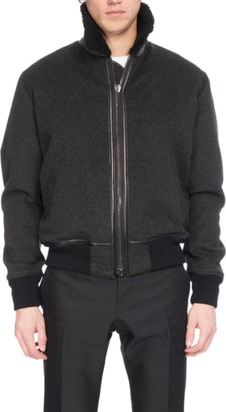 Berluti Felt Bomber Jacket with Shearling & Alligator Trim