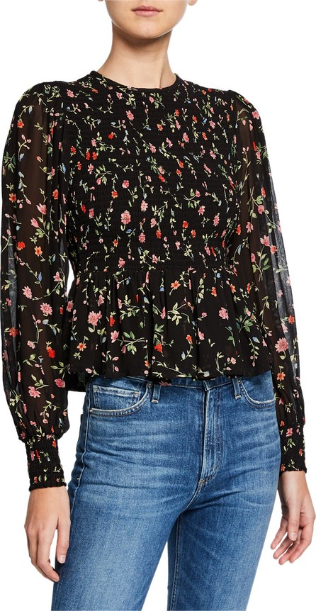 Ganni Floral-Print Smocked Long-Sleeve Peplum Blouse
