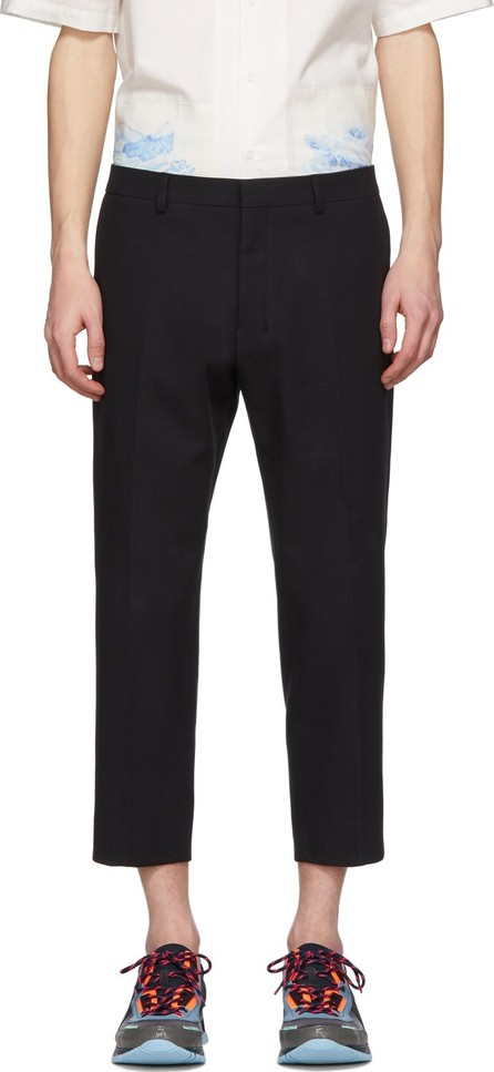AMI Black Twill Cropped-Fit Trousers