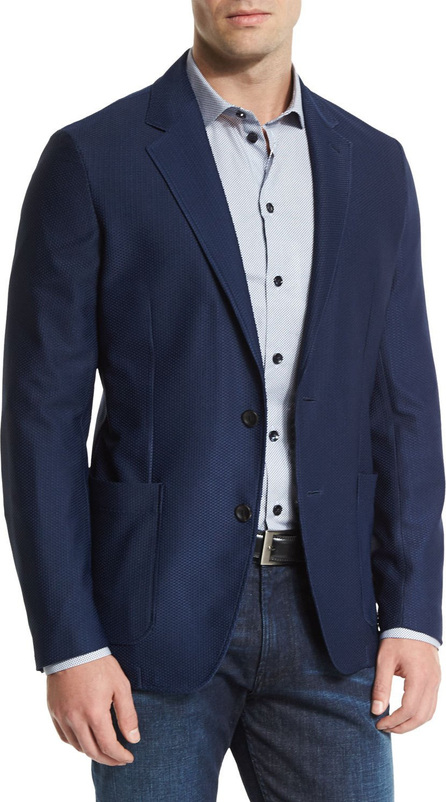 Armani Collezioni Textured Two-Button Jacket, Navy