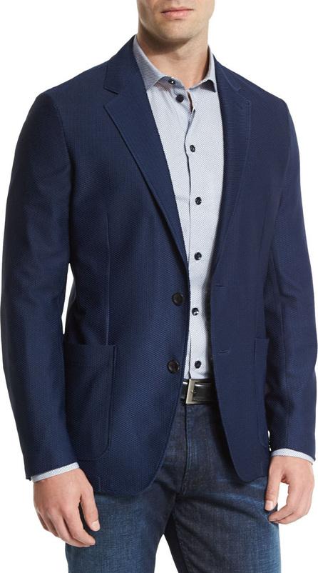 Armani Collezioni Textured Two-Button Jacket, Navy
